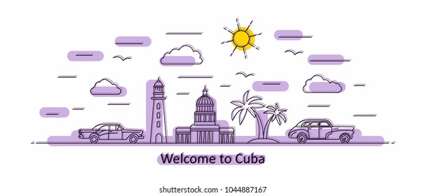 Cuba panorama. Cuba vector illustration in outline style with buildings and city architecture. Welcome to Cuba and Havana.