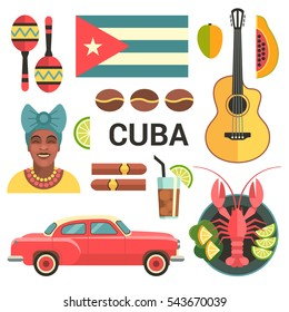 Cuba poster. Vector icons collection of Cuban culture and food, including maracas, guitar, retro car, papaya, the dish with lobster and portrait of Cuban Woman in trendy flat style.