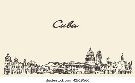 Cuba skyline, vintage vector engraved illustration, hand drawn, sketch