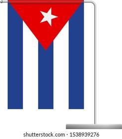 Cuba table flag. Metal flagpole. National flag of Cuba vector illustration
