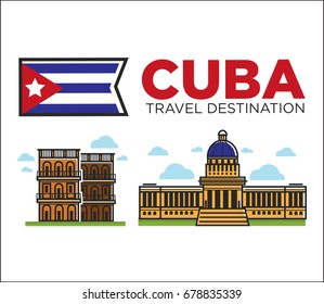 Cuba travel famous landmarks and sightseeing vector Havana icons