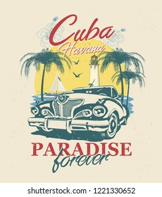 Cuba typography for t-shirt print with sun,beach and retro car.Vintage poster.