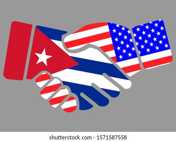 Cuba and USA flags Handshake vector