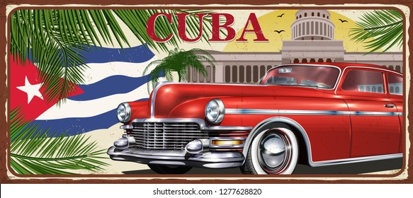 Cuba vintage metal sign, vector illustration.