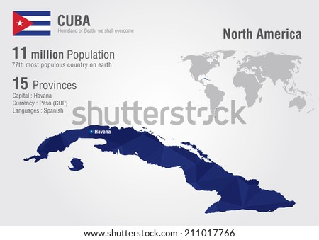 Cuba World Map Pixel Diamond Texture Stock Vector (Royalty Free ...