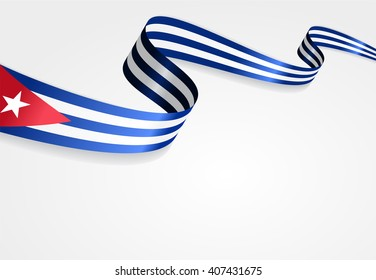 Cuban flag wavy abstract background. Vector illustration.