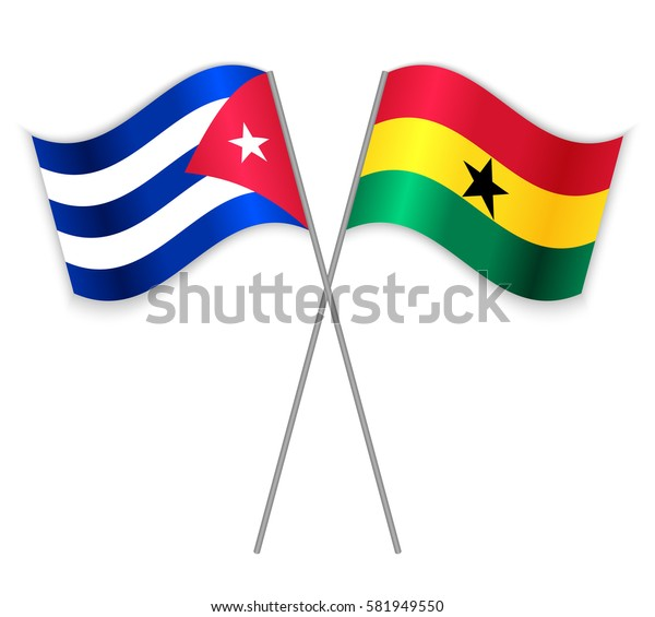 Cuban and Ghanaian crossed flags. Cuba combined with Ghana isolated on white. Language learning, international business or travel concept.