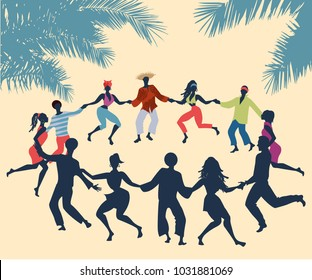 Cuban Rueda, or group of people dancing salsa in a circle under tropical palm trees