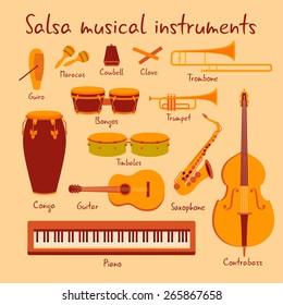 Cuban salsa mambo musical instruments extended vector set with piano and saxophone