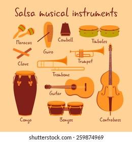 Cuban salsa musical instruments vector set