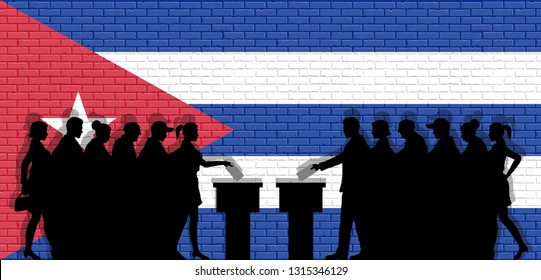 Cuban voters crowd silhouette in election with Cuba flag graffiti in front of brick wall. All the silhouette objects, icons and background are in different layers.