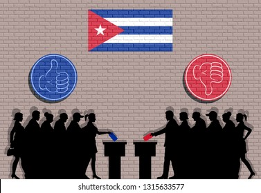 Cuban voters crowd silhouette in election with thumb icons and Cuba flag graffiti. All the silhouette objects, icons and background are in different layers.