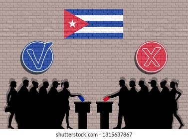 Cuban voters crowd silhouette in election with check marks and Cuba flag graffiti. All the silhouette objects, icons and background are in different layers.