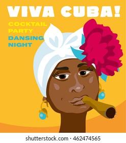 cuban woman face. cartoon vector illustration for music poster. cuba girl with floral decor and cigar. Caribbean ethnic caricature grotesque cigar poster