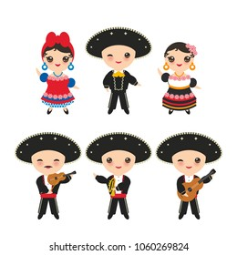 Cubans boy and girl in national costume and hat. Cartoon children in traditional Cuba dress, Mariachi group Musical instruments guitar, viola, violin, trumpet. Isolated on white background. Vector