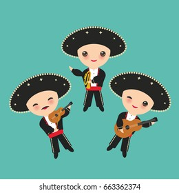 Cubans boy in national costume and hat. Cartoon children in traditional Cuba dress, Mariachi group Musical instruments guitar, viola, violin, trumpet. on blue background. Vector illustration