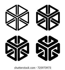 cube 3d frame black simple shape vector