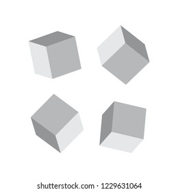 Cube 3d models. Realistic 3d cubes with shadows