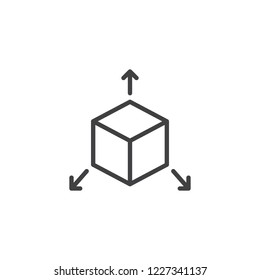 Cube with arrows out outline icon. linear style sign for mobile concept and web design. Three dimensions line vector icon. Symbol, logo illustration. Pixel perfect vector graphics