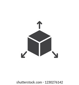 Cube with arrows out vector icon. filled flat sign for mobile concept and web design. Three dimensions solid icon. Symbol, logo illustration. Pixel perfect vector graphics