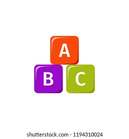 Cube baby toy. Vector. Kid toys icon isolated on white background in flat design. Cartoon illustration.