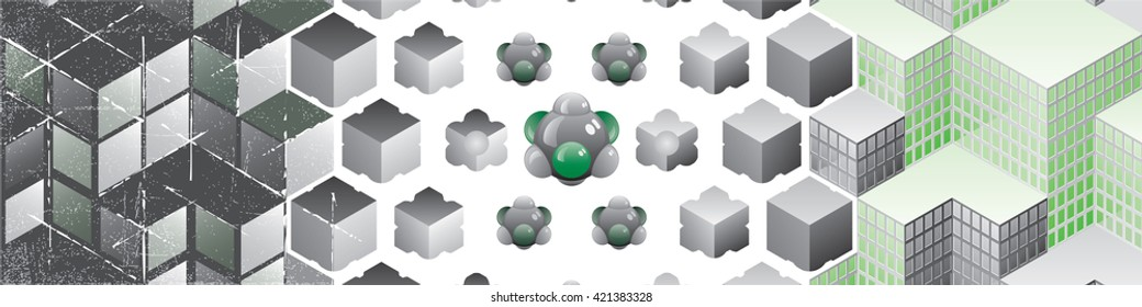 Cube Blocks Composition Transforming from the Stone Chaos to the Buildings Order through the Basic Atomic Structure - Green