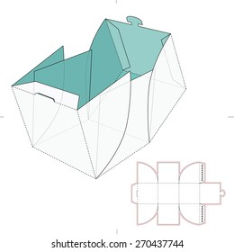 Cube Box with Die Cut Template