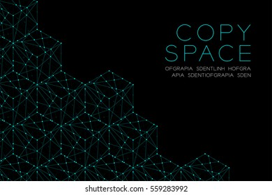Cube box isometric icon illustration blue green color, dot outline stroke design isolated on black background