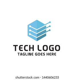 Cube Box Tech Logo For Technology Design With Colorful Style Concept. Digital Logo Company with Modern Digital Box and Hexagon Symbols Concept. Cube Tech Icon for Business, Studio, Network, Internet.