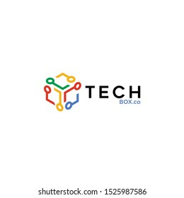 Cube Box Tech Logo For Technology Design With Colorful Style Concepts. Digital Company Logo with Modern Digital Box and Simple line concept. Tech Cube Icons for Business, Studio, Network, Internet.