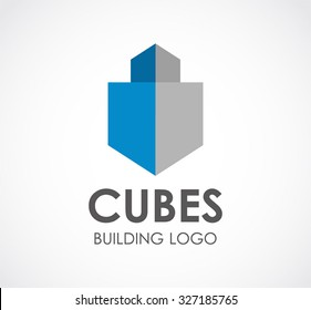 Cube building 3d abstract vector and logo design or template realistic construction business icon of company identity symbol concept