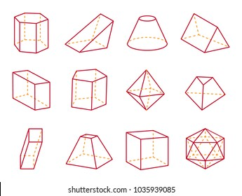 Cube and cone with flat top, cube and cone, triangular prism geometric shapes prism and cuboid, icosahedron set, vector illustration, isolated on white