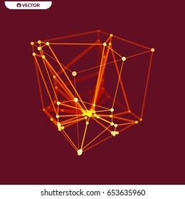 Cube. Connection structure. 3D grid design. Molecular lattice.