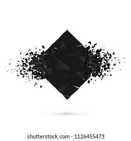 Cube destruction. Squared black banner with space for text. Abstract shape explosion. Vector illustration isolated on white backgrond