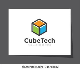 cube digital technology logo icon vector template