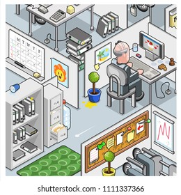 Cube farm office with businessman at computer, file cabinets, schedule, chart and pinboard (vector cartoon in isometric view)