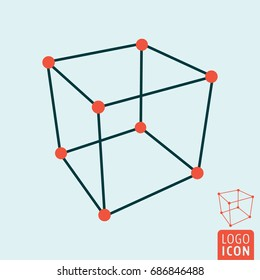 Cube icon. 3d cube structure symbol. Vector illustration.
