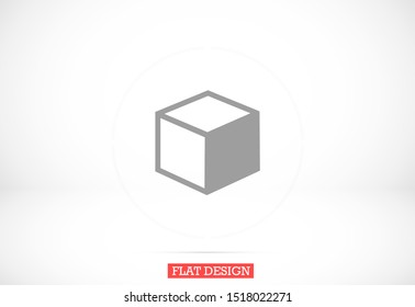 Cube icon vector  3D square sign Cube icon vector symbol Flat sign isolated on white background. Cube icon vector  logo  illustration for graphic and web design Cube icon design geometric
