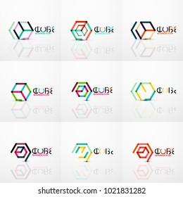 Cube idea concept logo, line design geometric brand company logotype emblem, abstract business identity shape