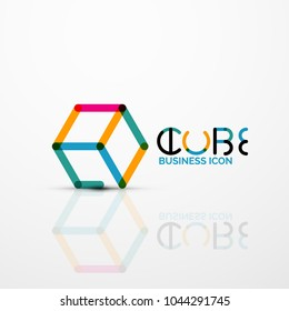 Cube idea concept logo, line design geometric brand company logotype emblem, abstract business identity shape