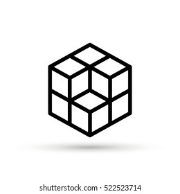cube isolated minimal icon. cube graph line vector icon for websites and mobile minimalistic flat design.