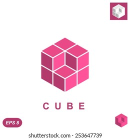 Cube isometric logo concept, 3d illustration, vector, eps 8