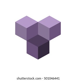 Cube isometric logo concept, 3d vector illustration. Flat design style. Cube construction. Graphic design. Fashion background abstract texture. Template for print, textile, wrapping.
