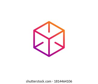 Cube letter O or number 0 logo icon design template elements
