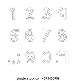 Cube Line 3D Font. Impossible Geometric set of numbers with punctuation marks vector; Illusion line 3D digits vector set