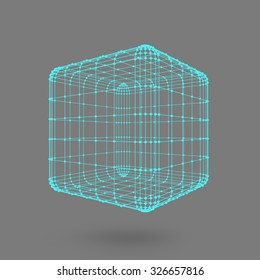 Cube of lines and dots. Cube of the lines connected to points. Molecular lattice. The structural grid of polygons. Black background. The facility is located on a black studio background