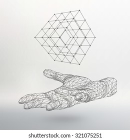 Cube of lines and dots on the arm. The hand holding a cube of the lines connected to points. The shadow of The objects in the background