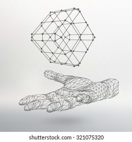 Cube of lines and dots on the arm. The hand holding cube of the lines connected to points. Molecular lattice. The structural grid of polygons. White background. The facility is located on a white
