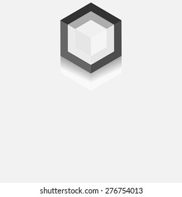 Cube logo design icon. Gray background for your text and logo. Outbox