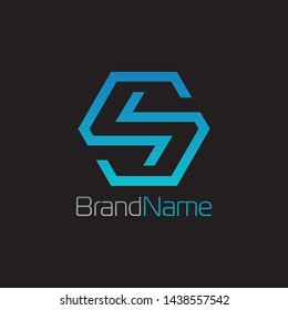 Cube Logo Formed Letter S With Blue Color